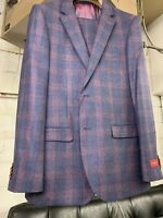 New 40R Men's SLIM Blue Check Suit Wool & Cashmere Super 150 Made Italy R/$1295