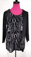 ALI MILES Tunic Top Size M Womens Black Aztec Print Lagenlook Zipper Pocket