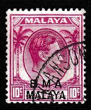 N. 222A-Malaya BRITISH MILITARY Admin. BMA 1945-8 SG#8, 10c kgvi-USATO