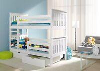Bunk Beds Wooden Childrens White Solid Pine Kids Bedroom Furniture 3ft Bed Frame