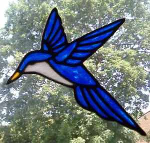 Hummingbird stained glass effect window cling decor sticker