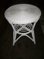 Rattan Table Sofa Furniture Tray round White Coffee Side