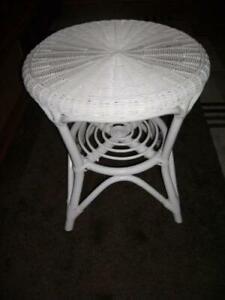 Rattan Table Sofa Furniture Tray round White Coffee Side