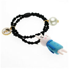 Baby Girl Blue Rabbit Pearl Coin Charms Elastic Hair Band Wrap Accessories HA253