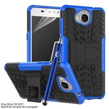 Huawei Y6 2017 Case Heavy Duty Armour Shock Proof Builder Hard Back Case Cover Blue