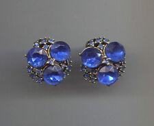 BLUE COBALT RIVOLI CLIP ON EARRINGS vintage