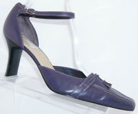 Worthington Jackie purple leather pointed toe tassel ankle strap heels 10M