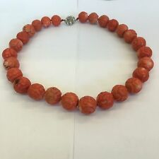 Vintage Heavy Chunky Coral Bead Necklace Red / Pink 182g 18mm Beads 50cm