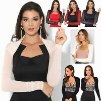 Womens Ladies Bolero Shrug Ruched Cardigan Mesh Lace Crop Top Party Evening