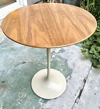 "Vintage Mid-century Knoll Eero Saarinen Tulip Side Table Oak Top 16"" Dia x 20""h"