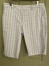 Nike Golf Shorts 14 Gray And White Check Excellent Condition