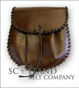 Brown Leather Scottish Jacobite Kilt Sporran - Includes Chain Strap