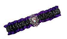 Handmade Regal Purple Black Silver Satin Wedding or Prom GARTER Rhinestone Jewel