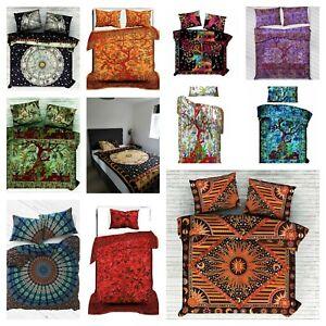 Indian Mandala Pattern Single Double Coloured Bedding Duvet Bohemian Cover Throw