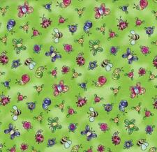 Topsy Turvy Bright Lime Green Flower Butterfly Lady Bug Calico Baby Quilt Fabric