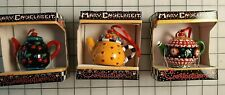 3 New Vintage Mary Engelbreit Teapot Christmas Ornaments Cherry Hearts Checks