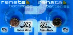 377 Battery Watch 1.55V SR626SW SR66 AG4 LR626 Silver Oxide Button Cell - 2 PC