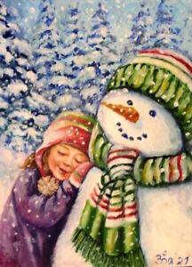 ACEO Original Painting Sketch card  Cute Child and Snowman