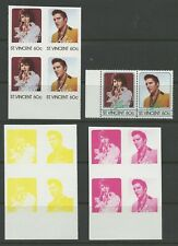 ST. VINCENT ELVIS PRESLEY COLOR IMPERF SEPARATIONS VERY SCARCE AS SHOWN
