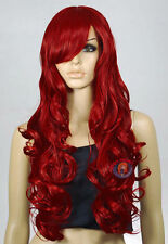 Dark Red Curly wavy Long Cosplay Wig - 33 inch High Temp - CosplayDNA Wigs