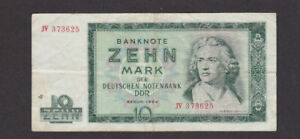 10 MARK VERY  FINE BANKNOTE FROM EAST GERMANY/DDR 1964 PICK-25