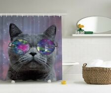 Humorous Cute Cat In Eyeglasses Graphic Shower Curtain Novelty Space Bath Decor