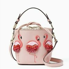Women's Flamingo Pink Purse Crossbody Leather Bucket Bag Beach Tote Handbag NEW
