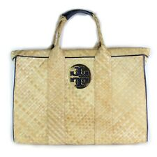 Tory Burch Woven Logo Tote Bag Purse Hand Bag Women's Beach