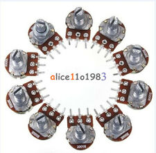 10PCS 500K Ohm B500K Knurled Shaft Linear Rotary Taper Potentiometer 15mm 3 Pins
