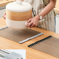 Over the Sink Multipurpose Roll-Up Dish Drying Rack Pan Bottle  Drainer Mat