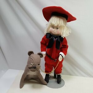 Buster Brown Doll Deuce Dog Maw Hand Crafted Original Stand Signed Red Leash