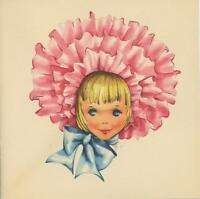 VINTAGE PRETTY VICTORIAN GIRL PINK BONNET FRILLS RIBBONS CARD OLD LITHO PRINT
