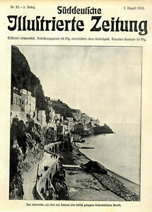Hafenstädtchen Amalfi Golf von Salerno Italien Straßenbild Titelblatt 7.8.1910