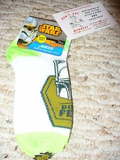 NEW! Star Wars Boba Fett Glow in the Dark quarter socks, Kids Size 6-8
