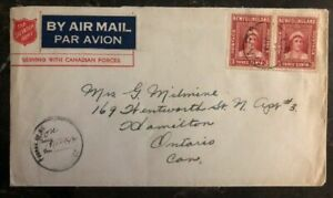 1944 Newfoundland Canadian Forces Salvation Army Cover To Hamilton Canada