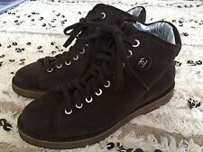 CHANEL CC LOGO Chocolate Brown Perforated Suede Lace Up Sneakers Boots 37 Sport