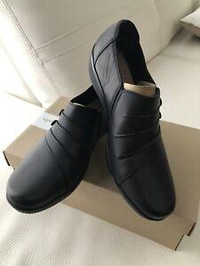 Clarks Everlay Romy 8 1/2 Black Leather New In Box Comfort Shoe