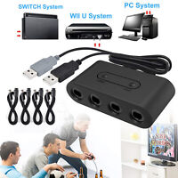 4 Port Nintendo GameCube Controller Adapter For Wii U/PC USB +Extension Cable