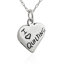 I Heart Quilting Charm -925 Sterling Silver - Love Crafts Sewing Machine Quilt