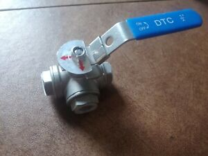 """1/2"""" 3 Way ball valve, L Pad, Port NPT Stainless Steel 1000PSI Water, Oil, Gas"""