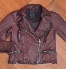 AllSaints Women's Oxblood Leather Biker Jacket UK 10