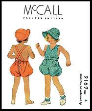 McCall 9169 Pattern Sun Suit Play Suit BONNET BABY GIRL BOY Child Hat UNISEX ~8~