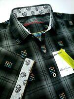 Robert Graham Paisley Plaid Print Colorful Short Sleeve Shirts