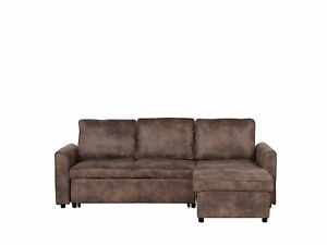 Left Hand Faux Leather Corner Sofa Bed Storage Brown Loose Cushion Back Nesna