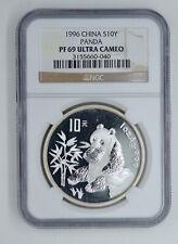 NGC PF69 Ultra Cameo 1996 China 10 Yuan 1 oz silver Proof Panda - SN:3155660-040