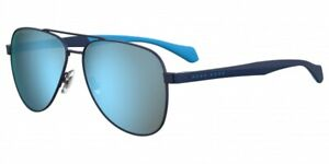 Hugo Boss 1077/S FLL 3J Matte Blue Mirror Aviator  Sunglasses