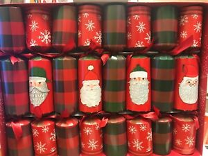 16 PREMIUM RED GREEN CRACKERS DINNER TABLE CHRISTMAS SNOWFLAKE PARTY TARTAN 2020
