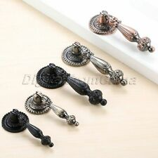 Antique Furniture Hardware Drop Pull Handle Cupboard Drawer Cabinet Knobs 2pcs