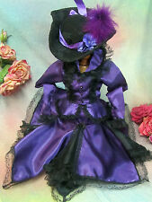 """Handmade Victorian Doll doll clothes Purple satin Top skirt Hat stockings 18-21"""""""