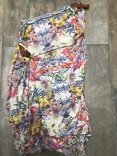 Handmade One Off Botanical Flowers Leather Trim One Shoulder Dress 10-12 New